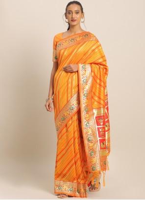 Yellow Weaving Art Banarasi Silk Saree