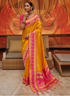 Yellow Weaving Art Silk Designer Traditional Saree