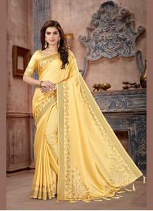 Yellow Weaving Art Silk Traditional Saree