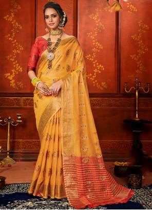Yellow Weaving Classic Designer Saree