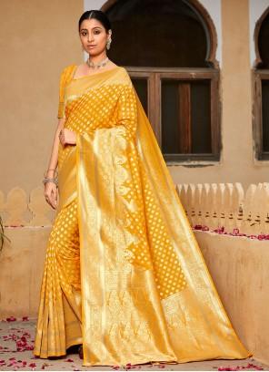 Yellow Weaving Contemporary Saree