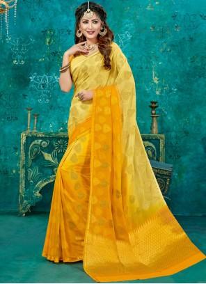 Yellow Weaving Crepe Silk Designer Traditional Saree