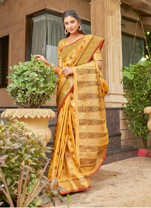 Yellow Weaving Handloom Cotton Classic Saree