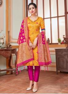 Yellow Weaving Party Trendy Salwar Suit
