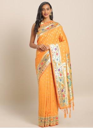 Yellow Banarasi Silk Weaving Saree