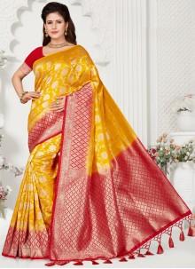 Yellow Weaving Silk Classic Saree