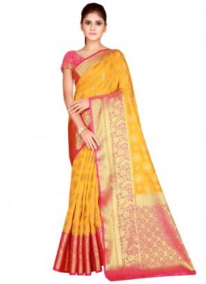 Yellow Weaving Silk Designer Saree
