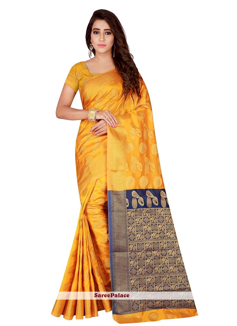 Yellow Weaving Traditional Saree