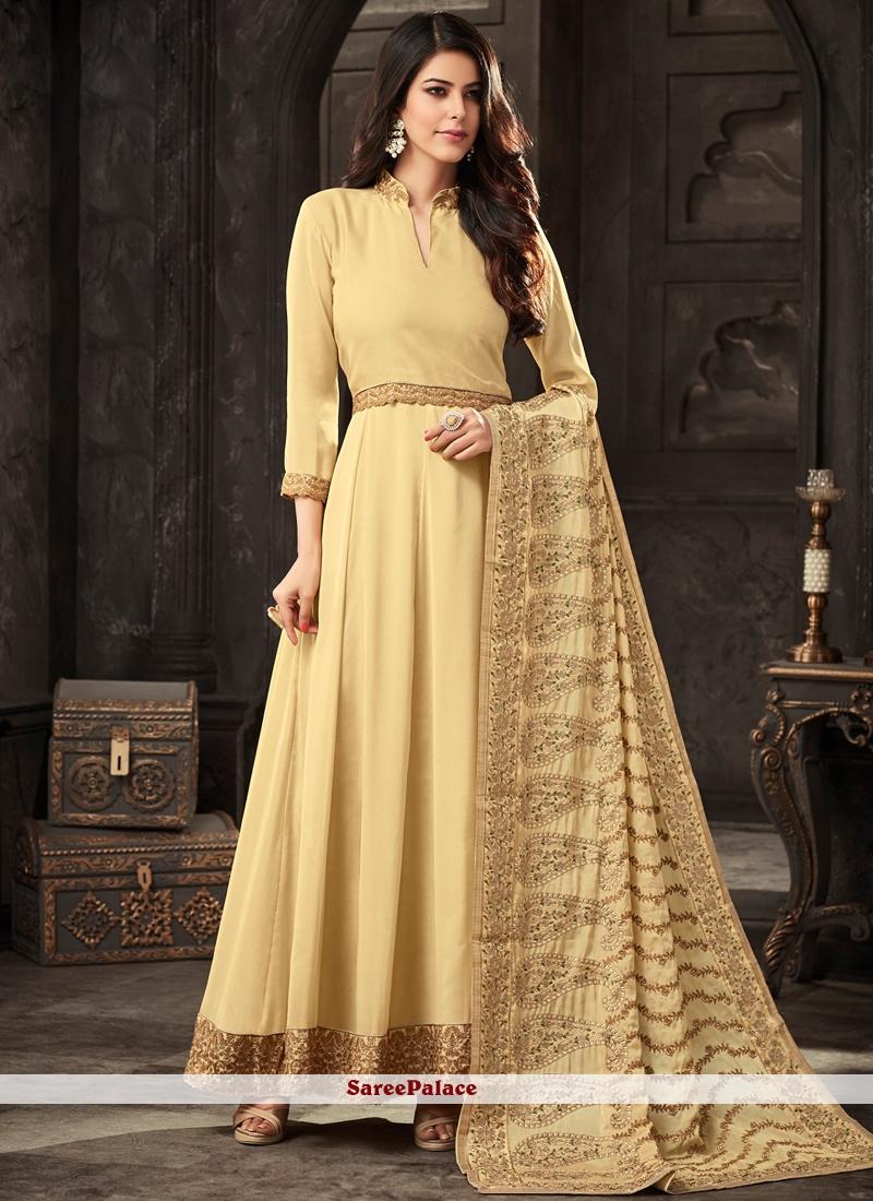 Yellow Wedding Faux Crepe Floor Length Anarkali Suit