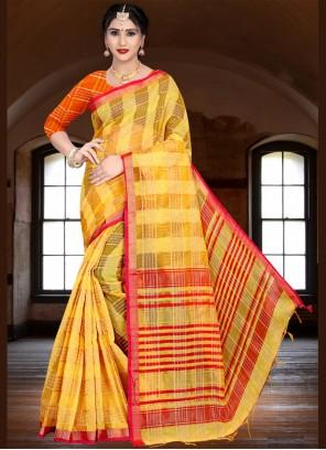 Yellow Woven Festival Trendy Saree