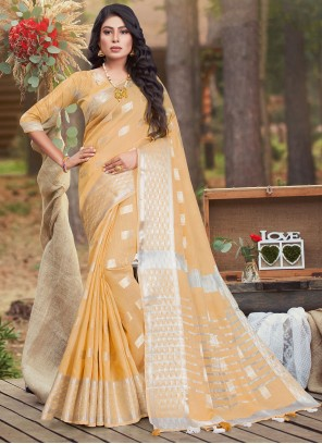 Yellow Woven Work Cotton Traditional Saree