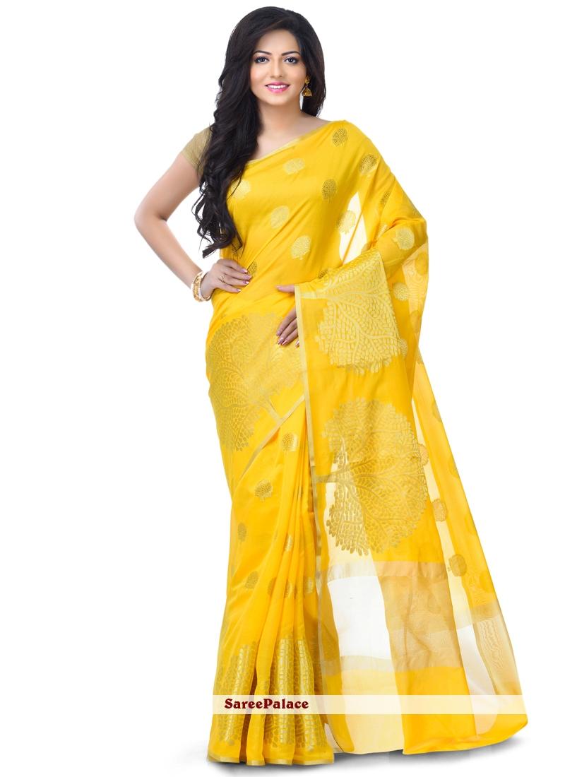 Yellow Zari Banarasi Silk Classic Designer Saree