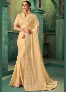 Yellow Zari Classic Designer Saree