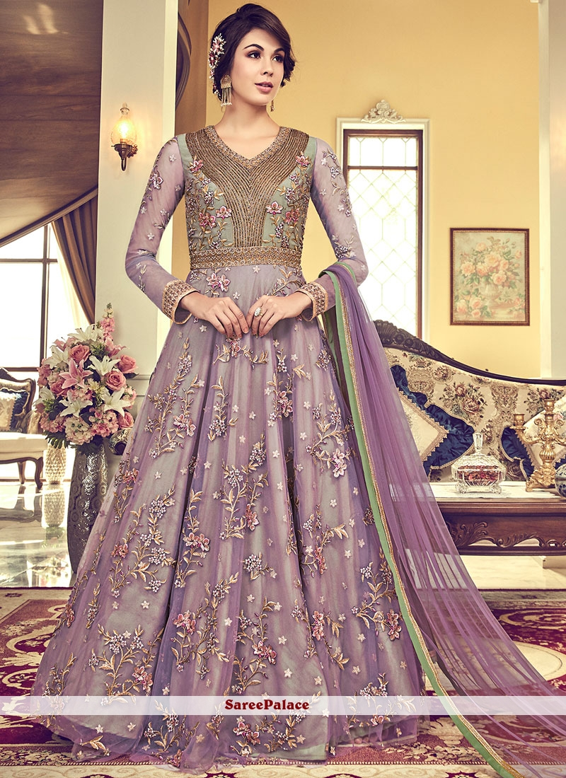 79e1e0092ba Buy Lavender Net Zari Anarkali Suit Online