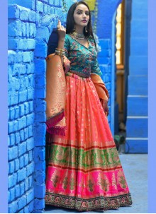Zari Art Banarasi Silk Lehenga Choli in Pink