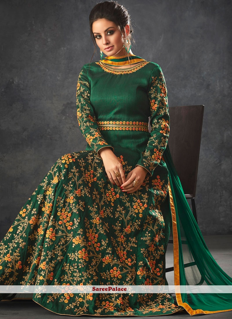 Green Zari Art Silk Floor Length Anarkali Suit