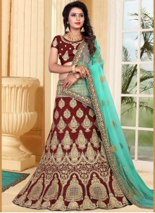 Zari Art Silk Lehenga Choli in Maroon