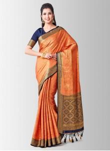 Zari Art Silk Peach Designer Traditional Saree