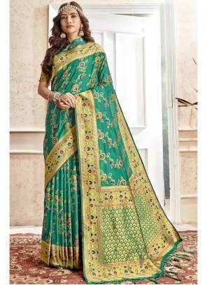 Green Zari Art Silk Saree