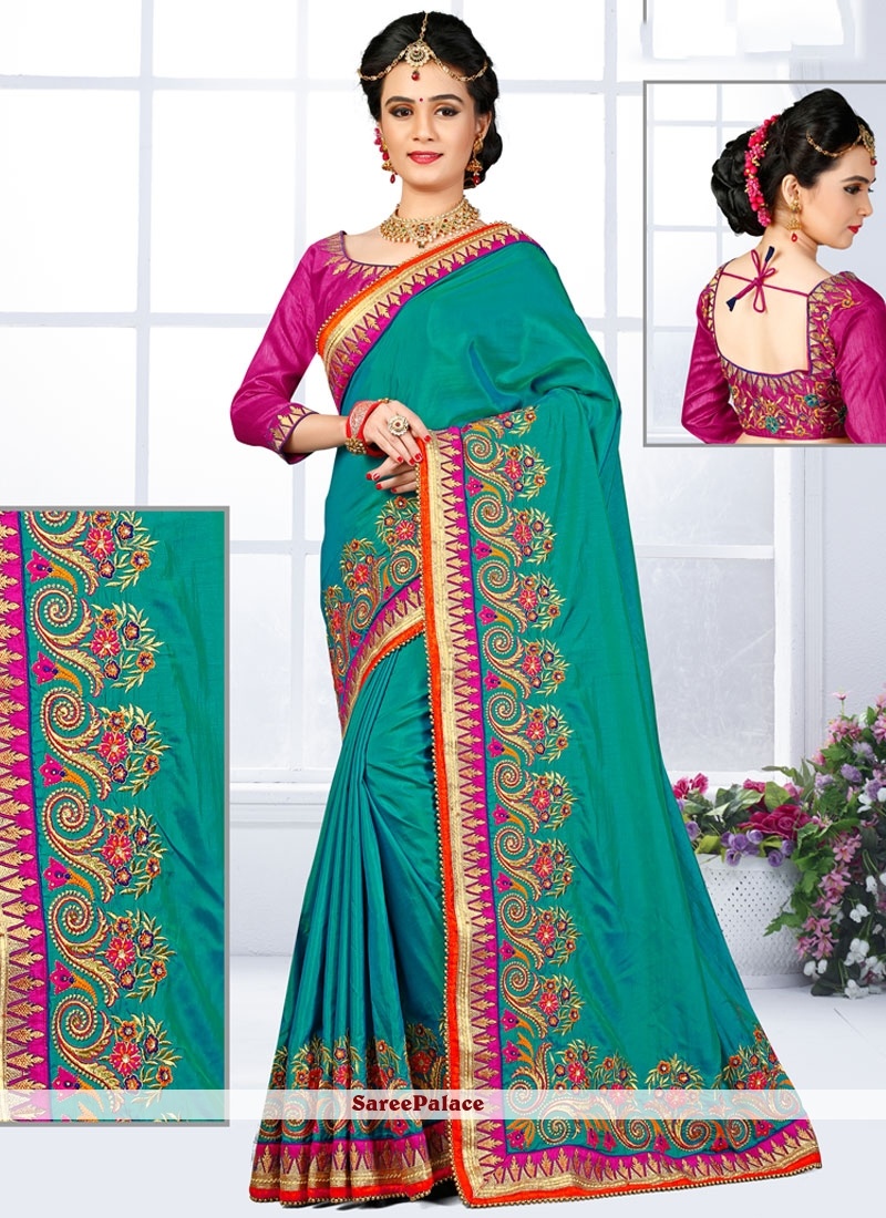 Zari Art Silk Traditional  Saree in Sea Green