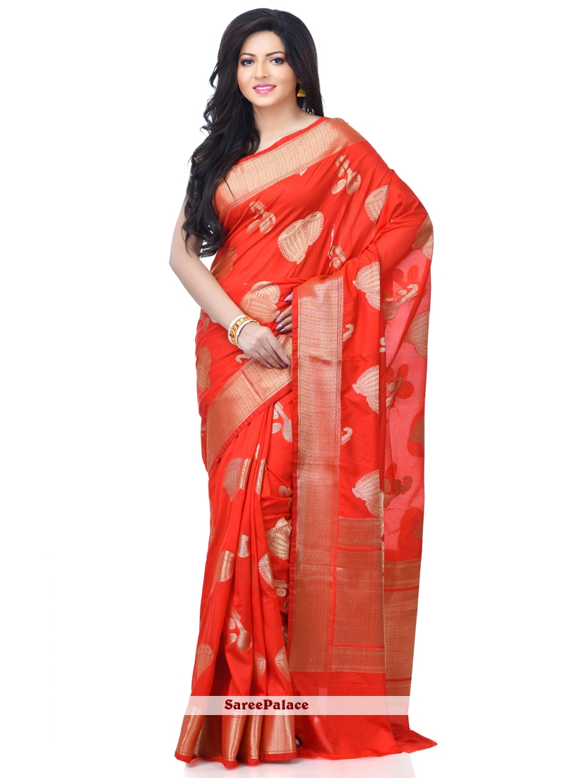 Red Zari Banarasi Silk Classic Designer Saree