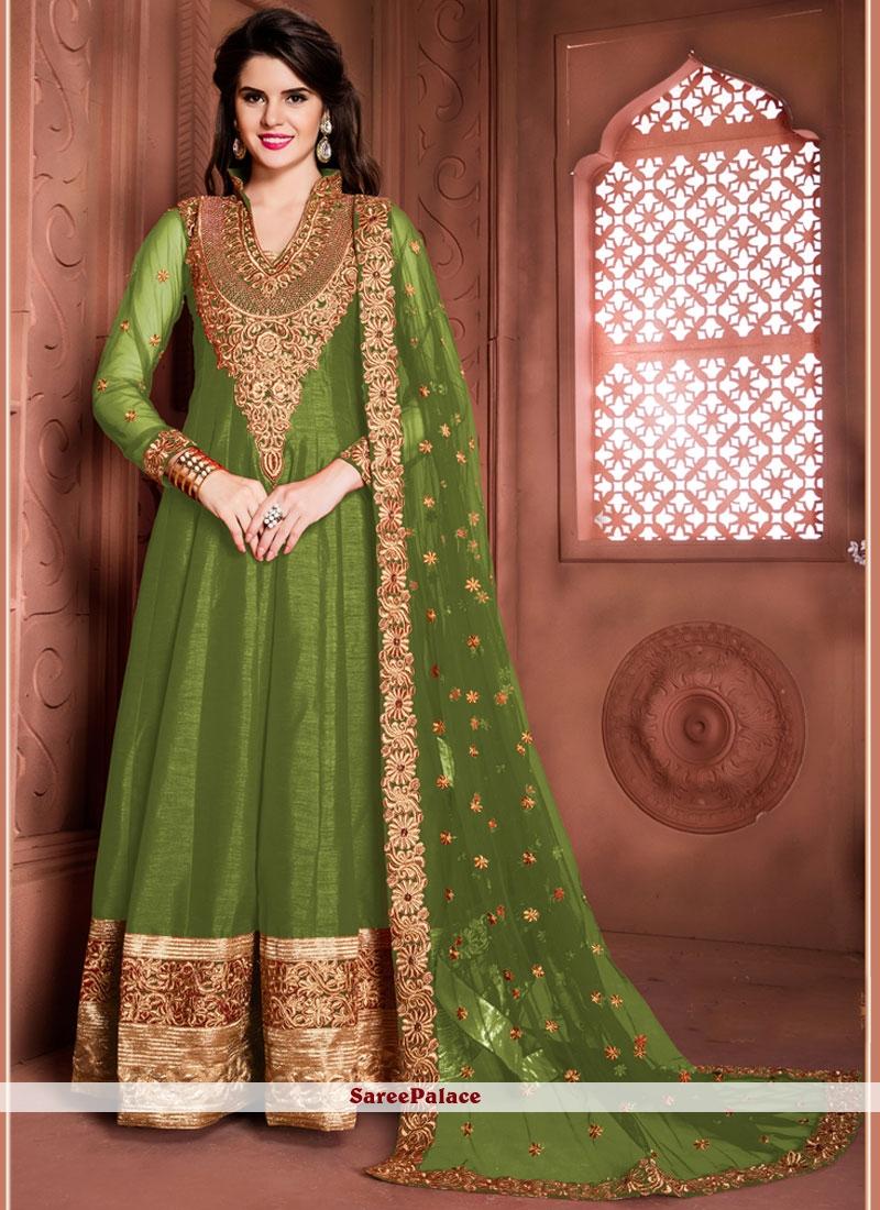 Zari Banglori Silk Designer Floor Length Suit in Green