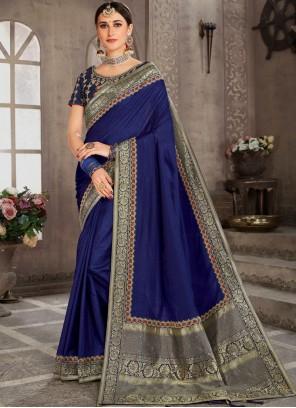 Zari Blue Classic Saree