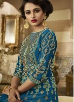 Zari Blue Floor Length Anarkali Suit