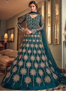 Zari Blue Net Long Length Designer Anarkali Suit