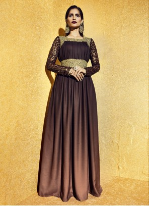 Zari Brown Anarkali Salwar Kameez