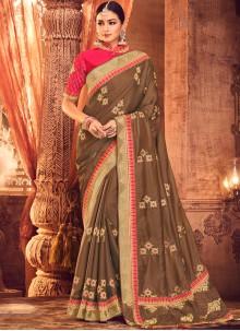 Zari Brown Art Silk Classic Saree