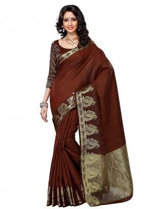 Zari Brown Silk Classic Designer Saree