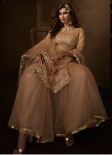 Zari Ceremonial Beige Designer Palazzo Salwar Suit