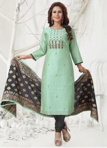 Zari Chanderi Salwar Suit in Sea Green