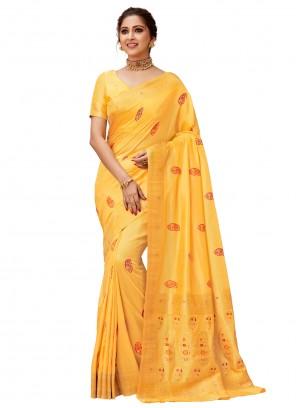 Zari Contemporary Yellow Saree