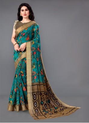 Green Zari Cotton Trendy Saree