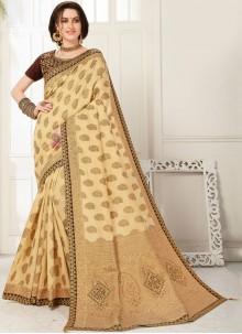 Zari Cream Banarasi Silk Designer Saree