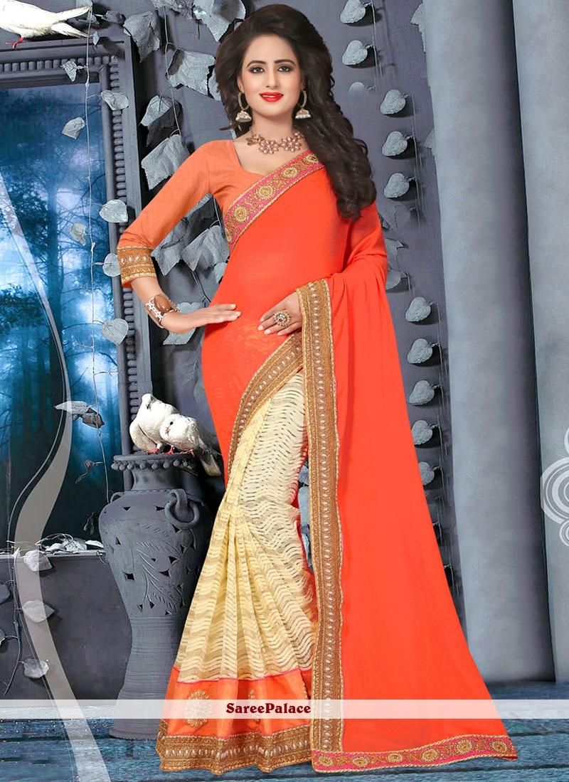 Zari Faux Georgette Half N Half Trendy Saree in Beige and Orange
