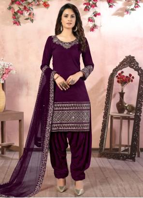 Zari Festival Purple Designer Patiala Suit