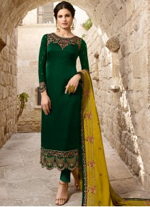 Zari Georgette Designer Salwar Suit in Green
