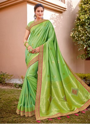 Zari Green Silk Classic Designer Saree