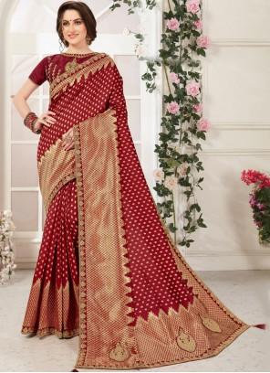 Zari Maroon Traditional Saree