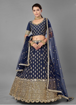 Zari Navy Blue Art Silk Lehenga Choli