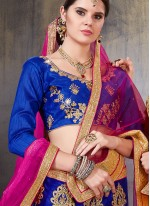 Zari Net Blue Designer Lehenga Choli
