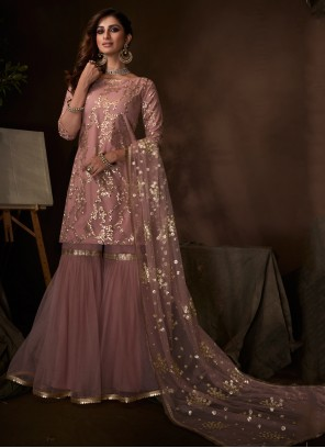 Zari Net Palazzo Designer Salwar Kameez in Lavender
