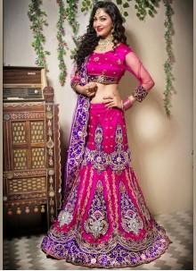 Zari Net Pink Designer Lehenga Choli