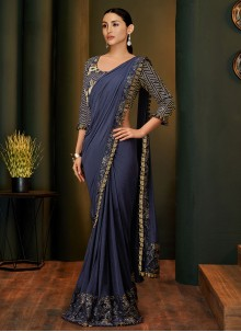 Zari Net Traditional Saree in Blue