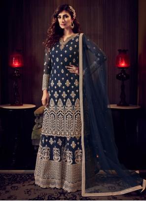 Zari Net Trendy Blue Salwar Kameez