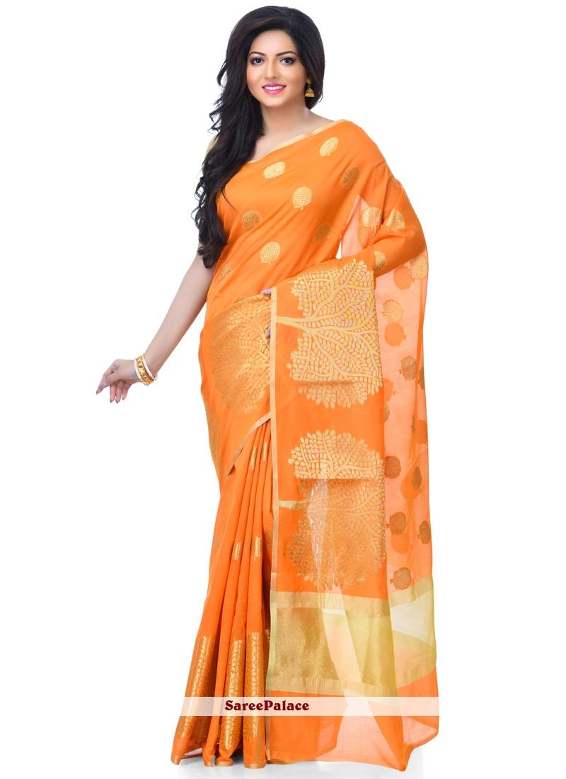 Zari Orange Classic Designer Saree