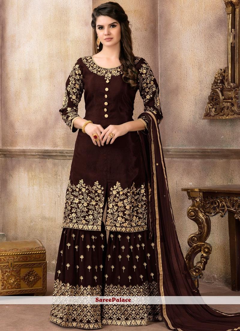 Brown Zari Party Designer Pakistani Suit